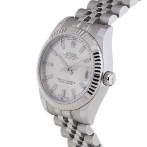 Rolex Datejust Steel and White Gold Silver Stick Dial 31mm Watch