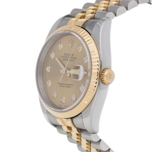 Rolex Datejust 116233 Stainless Steel & 18K Gold Champagne Diamond Mens Watch