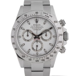 Rolex Daytona 116520 WSO Stainless Steel White Dial Scrambled 40mm Watch