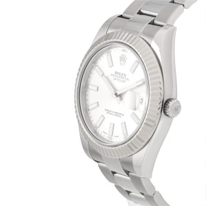 Rolex Datejust II 116334 Stainless Steel Silver Dial White Gold Fluted Bezel 41mm Mens Watch