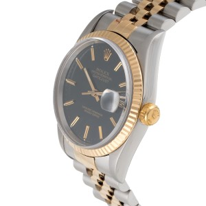 Rolex 16233 Datejust 36mm 18k Gold & Steel Black Dial Mens Watch
