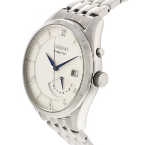Seiko Mens Stainless Steel Kinetic Watch SRN055
