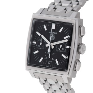 Tag Heuer Monaco CW2111 Stainless Steel Automatic Brown Strap Watch