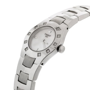 Tissot L521 Mother Of Pearl Dial With Diamonds on Bezel SS Watch