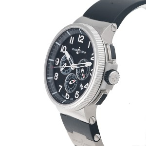 Ulysse Nardin Marine Chronograph 1503-150-3-6 Black Dial Black Rubber Mens Watch