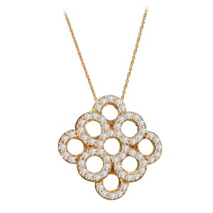 18k Rose Gold White Diamond Pendant