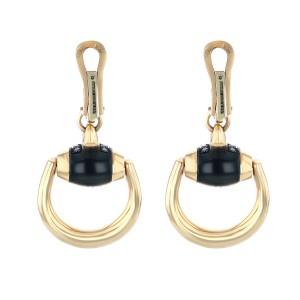 GUCCI 18k Rose Gold and Black Diamonds Horsebit Earrings