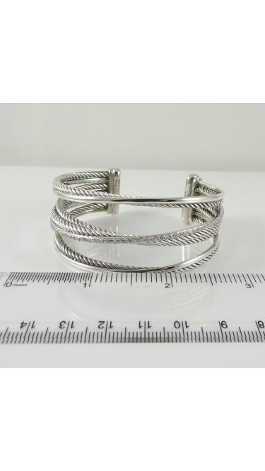David Yurman Crossover Cuff 925 Sterling Sterling Silver 14K White Gold .65ctw Diamond Bracelet