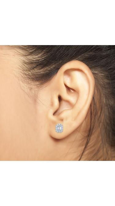 0.50 Ct Emerald Shape Lab-Grown Diamond Halo Earrings set in 14K White Gold