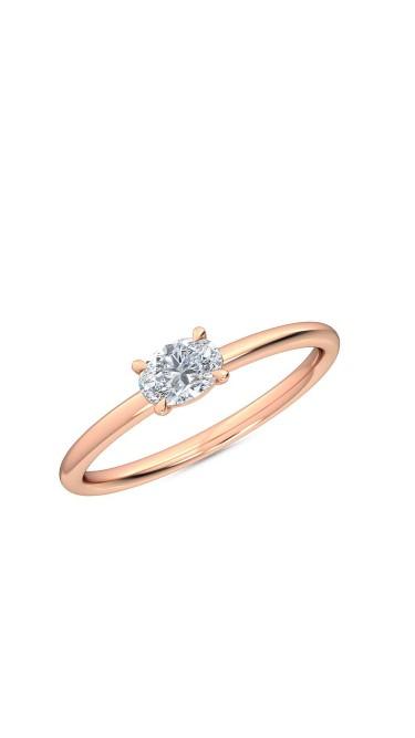 0.25 Ct Horizontal Oval Cut Petite Lab Grown Diamond Ring in 14K Rose Gold