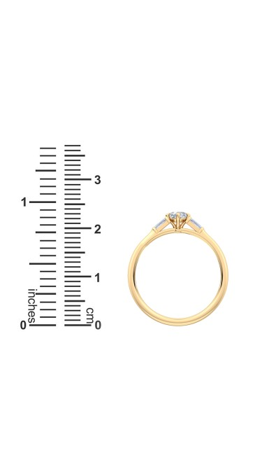 0.30 Ct Cushion Cut North-South and Baguette Cut Petite Lab Grown Diamond Ring in 14K Yellow Gold