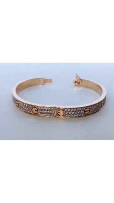 Cartier Love Bracelet 18K Rose Gold with Diamond Size 17