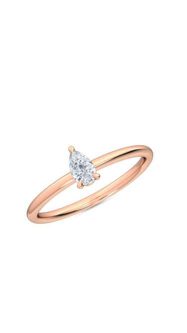 Annamaria petite pear shaped lab grown diamond ring in 14K rose gold by Madeforus