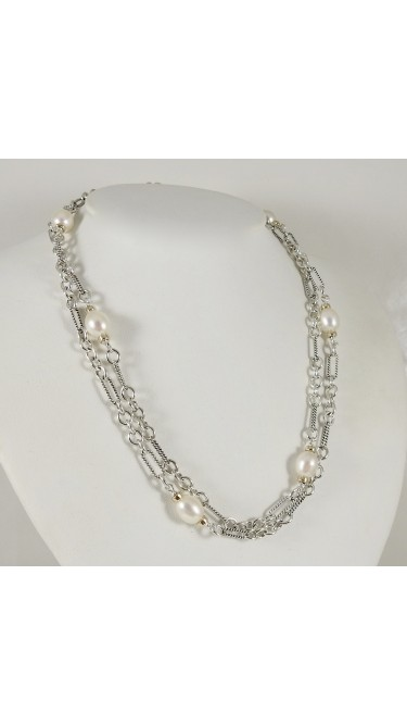 David Yurman 18K Yellow Gold 925 Sterling Silver Cultured Pearl Necklace