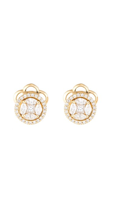 Mosaic Collection 18K Yellow Gold Diamonds Earrings