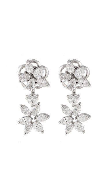 Unique Collection 18K White Gold Diamonds Earrings