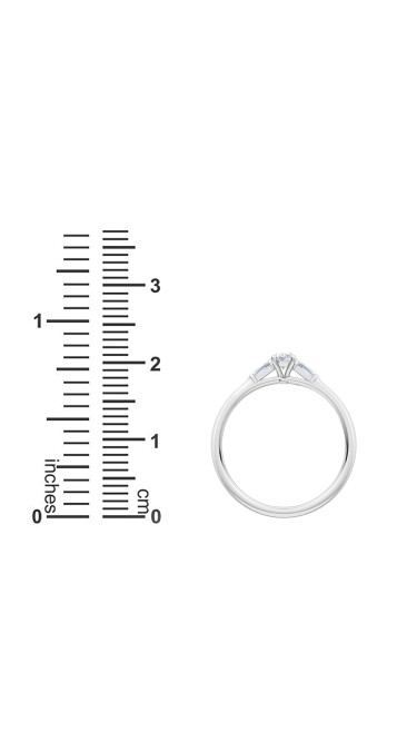 0.30 Ct Oval and Baguette Cut Petite Lab Grown Diamond Ring in 14K White Gold (E-F, VS1-VS2, 0.30 cttw) by MadeForUs