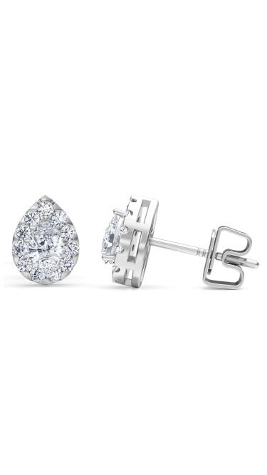 0.50 Ct Pear Shape Lab-Grown Diamond Halo Earrings set in 14K White Gold
