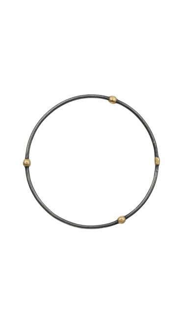 Yossi Harari Jewelry Oxidized Gilver Jane Stack Bangle
