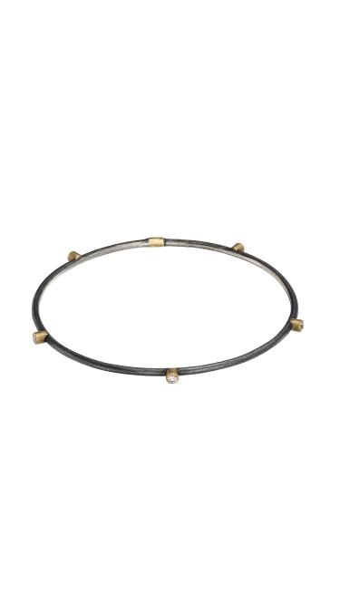 Yossi Harari Jewelry Oxidized Gilver Diamond Jane Stack Bangle