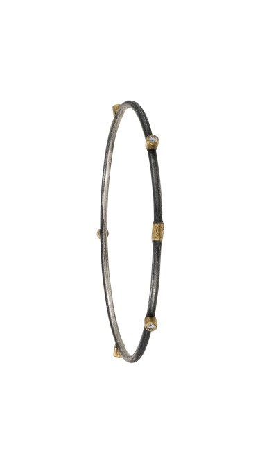 Yossi Harari Jewelry Oxidized Gilver Diamond Jane Stack Bangle