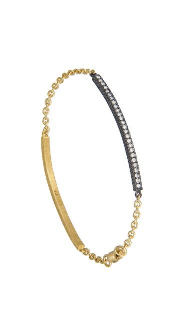 Yossi Harari Jewelry 18k Gold & Oxidized Gilver Diamond Lilah ID Bracelet