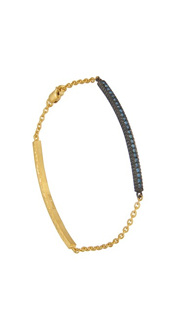 Yossi Harari Jewelry  18k Gold Blue Diamond Lilah ID Bracelet