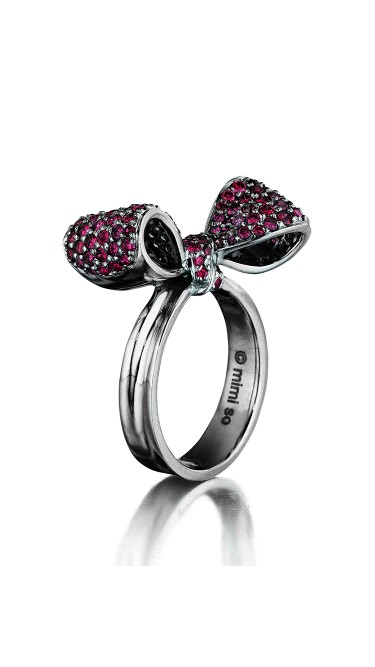 18K Gold Small Bow Gemstone Ring