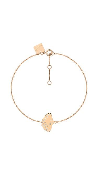 GINETTE NY 18K Rose Gold Diamond Gingko Bracelet