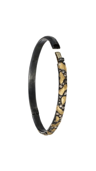 Yossi Harari Jewelry Jane 24k Gold & Oxidized Gilver Diamond Libra Bangle