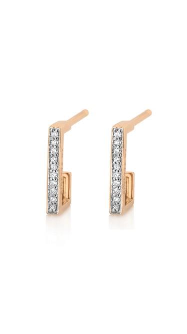 GINETTE NY 18K Rose Gold Diamond Art Deco Hoops