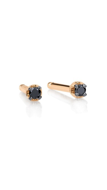 GINETTE NY 18K Rose Gold Mini Black Diamond Puce