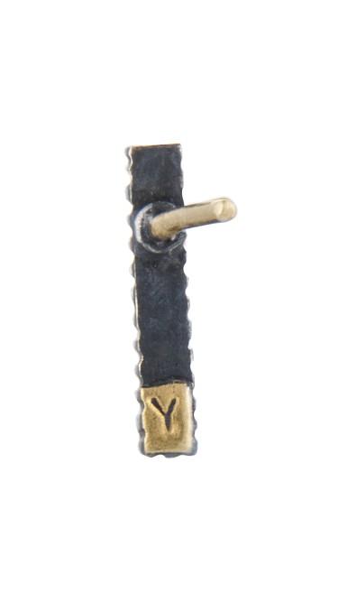 Yossi Harari Jewelry Oxidized Gilver Diamond Stick Lilah Stud Earrings