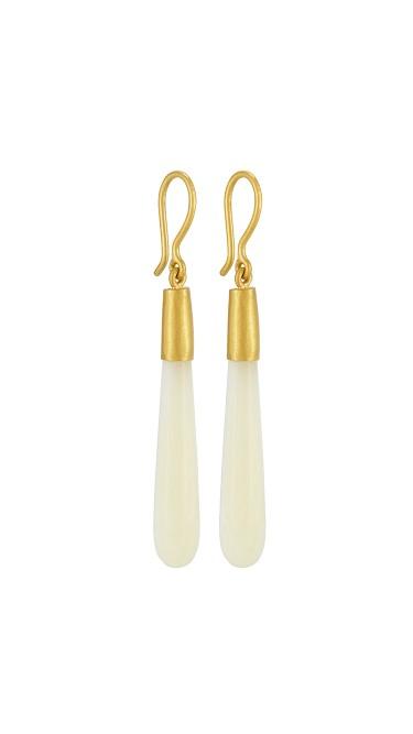 Yossi Harari Jewelry 24k Gold Cultured Pearl Cone Jane Earrings