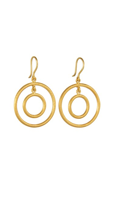 Yossi Harari Jewelry Jane 24k Gold Double Loop Rachel Earrings