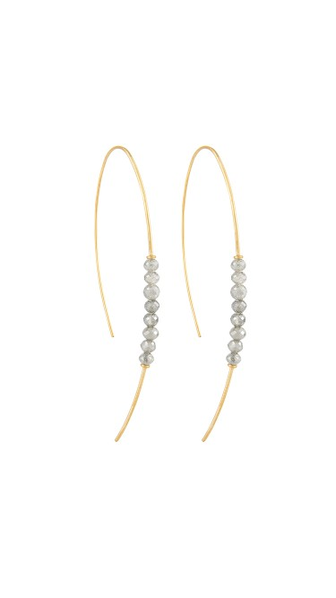Yossi Harari Jewelry Jane 18k Gold & Diamond Beads Hoop Threader Earrings