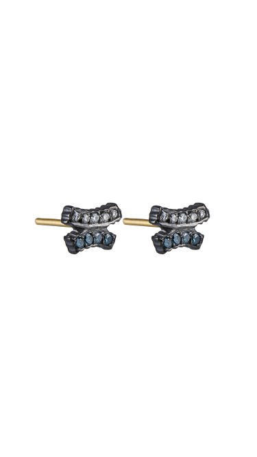 Yossi Harari Jewelry Lilah Oxidized Gilver Blue And White Diamond Crisscross Stud Earrings