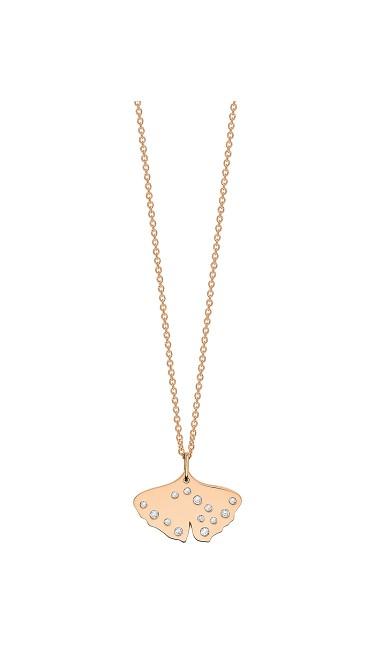 GINETTE NY 18K Rose Gold Mini Diamond Gingko On Chain