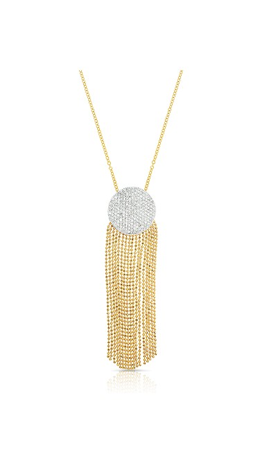 Yellow Gold Diamond Large Infinity Tassel Necklace