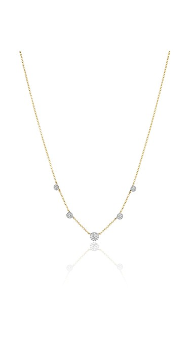 Yellow Gold and Diamond Graduated Micro Infinity Station Necklace