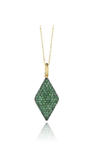 Yellow Gold & Tsavorite Diamond Shape Necklace