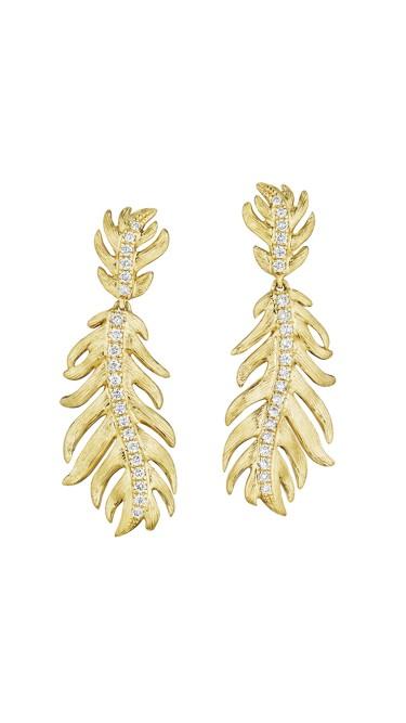 18K Gold Phoenix Medium Center Pave Earrings