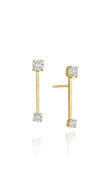 Piece Stick Earrings with Round Diamonds (Small)