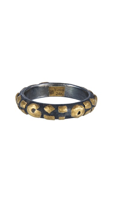 Yossi Harari Jewelry Jane 24k Gold & Oxidized Gilver Leopard Stack Ring Size 6