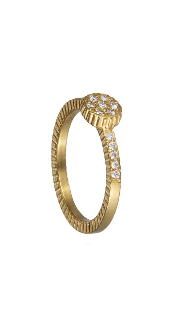 Yossi Harari Jewelry 18k Gold Diamond Lilah Stack Ring Size 6