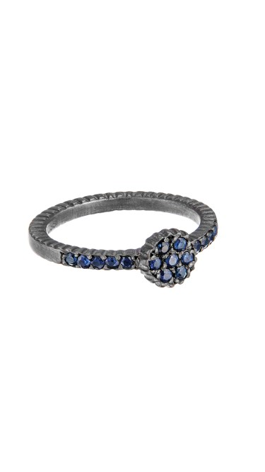 Yossi Harari Jewelry Oxidized Gilver Blue Sapphire Lilah Stack Ring Size 6