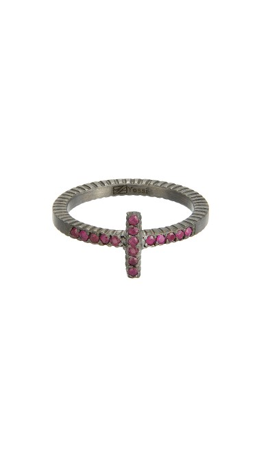 Yossi Harari Jewelry Oxidized Gilver Ruby Stick Lilah Stack Ring Size 6