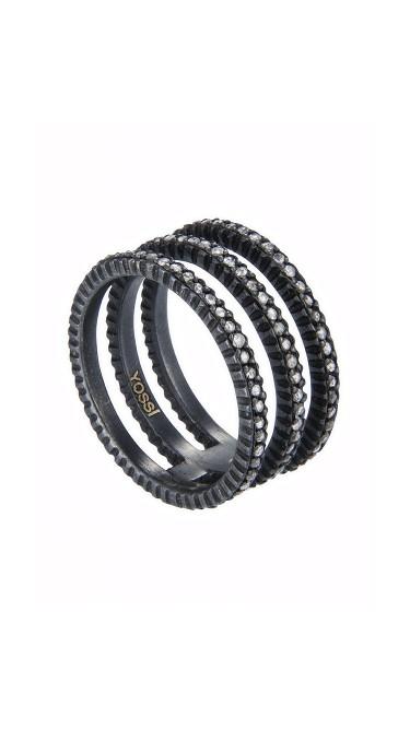 Yossi Harari Jewelry Oxidized Gilver Rose Cut Diamond Triple Ring Size 6