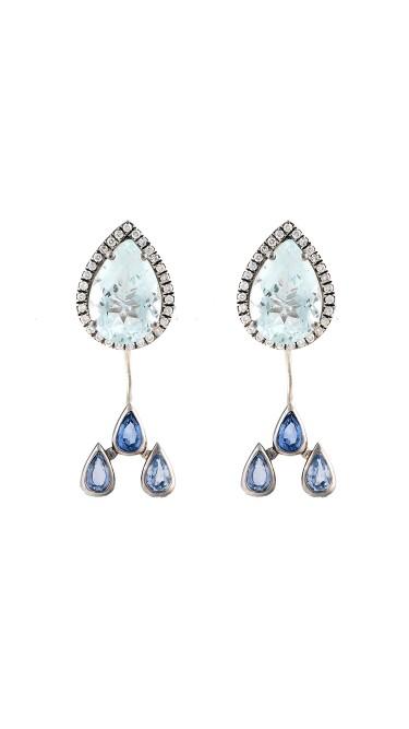 18K White Gold Aquamarine Watershed Earrings