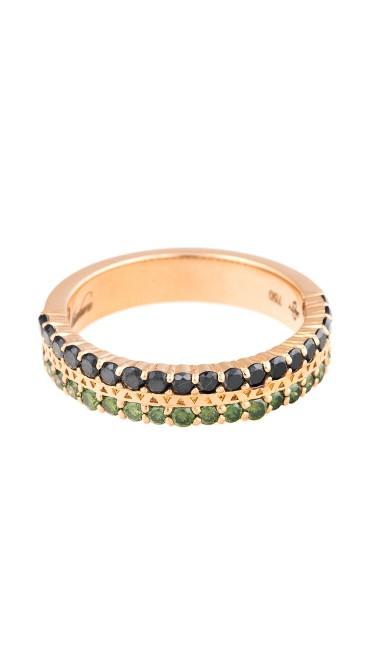 18K Rose Gold Black/Green Diamonds Unity Pure Ring